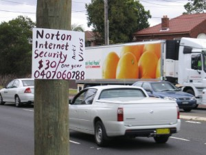 Selling Norton Internet Security from a power pole - Victoria Rd, Ermington